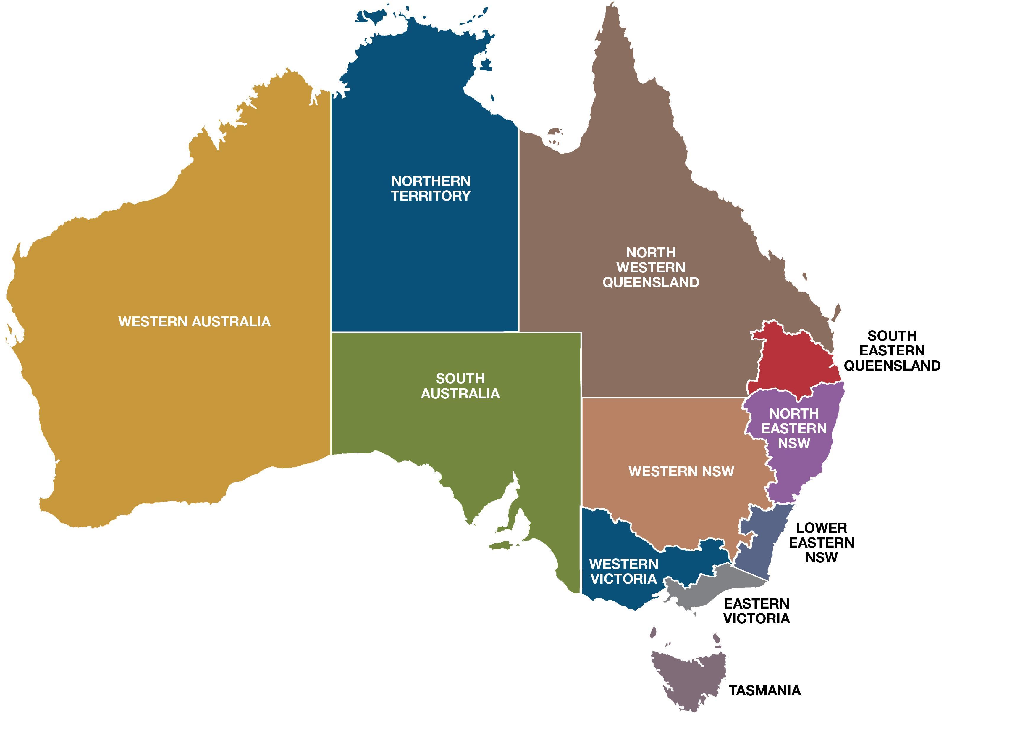 המפה של אוסטרליה אזורים (אוסטרליה